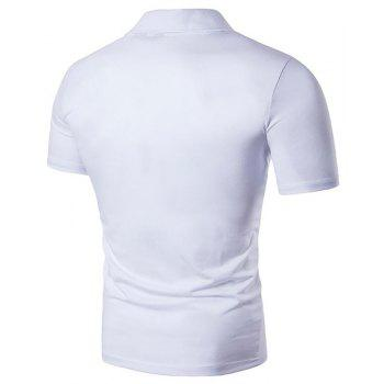 Men's Letter Print Cotton Slim Polo Shirt Collar - WHITE L