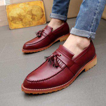 Men Casual Fashion Business Leather Shoes - MAROON 40