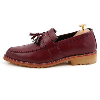 Men Casual Fashion Business Leather Shoes - MAROON 39