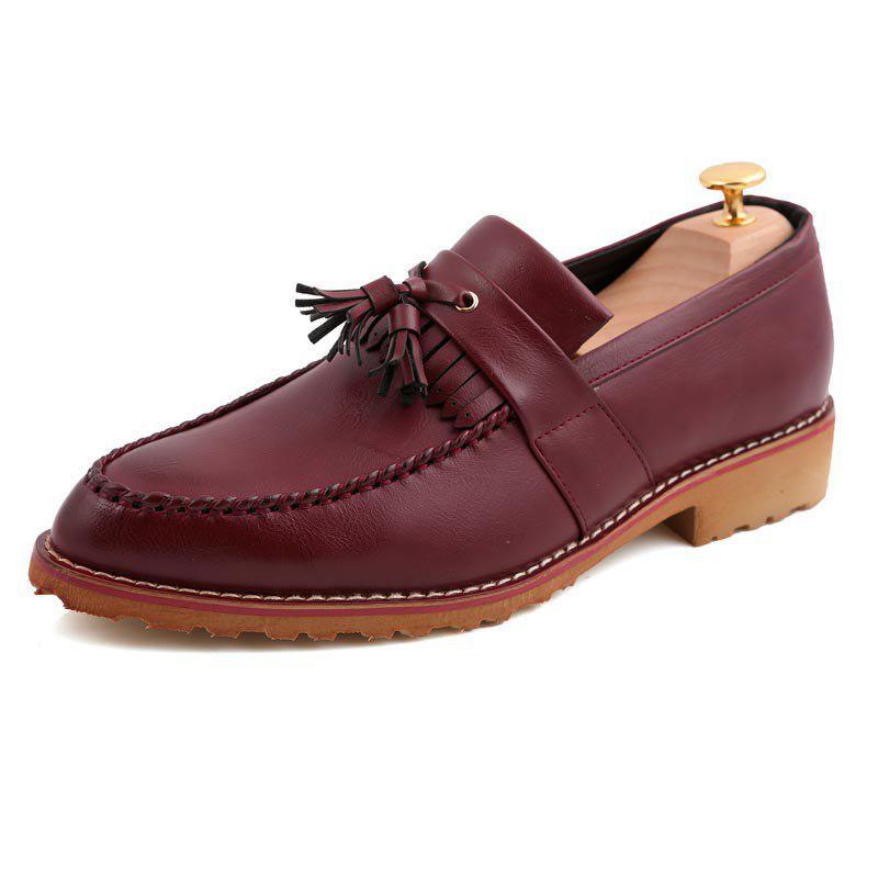 Men Casual Fashion Business Leather Shoes - MAROON 43