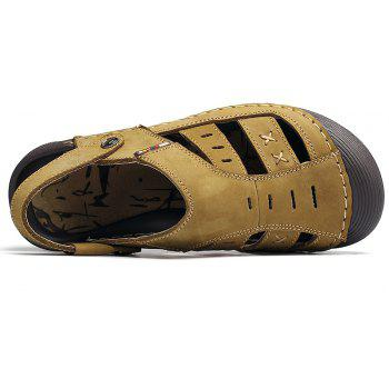 Men Casual Fashion Sandals Leather Shoes - BROWN SUGAR 44
