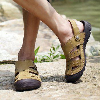 Men Casual Fashion Sandals Leather Shoes - BROWN SUGAR 38