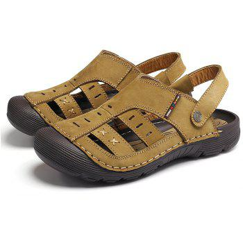 Men Casual Fashion Sandals Leather Shoes - BROWN SUGAR 43