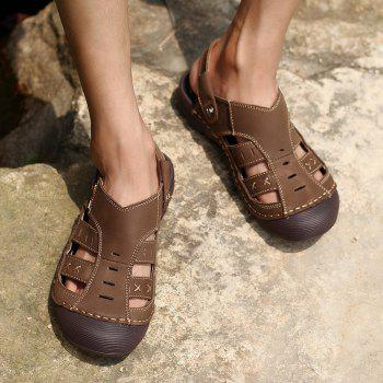 Men Casual Fashion Sandals Leather Shoes - SEPIA 43