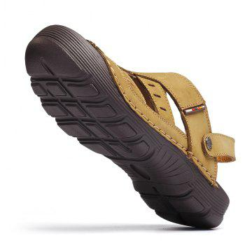 Men Casual Fashion Sandals Leather Shoes - BROWN SUGAR 40
