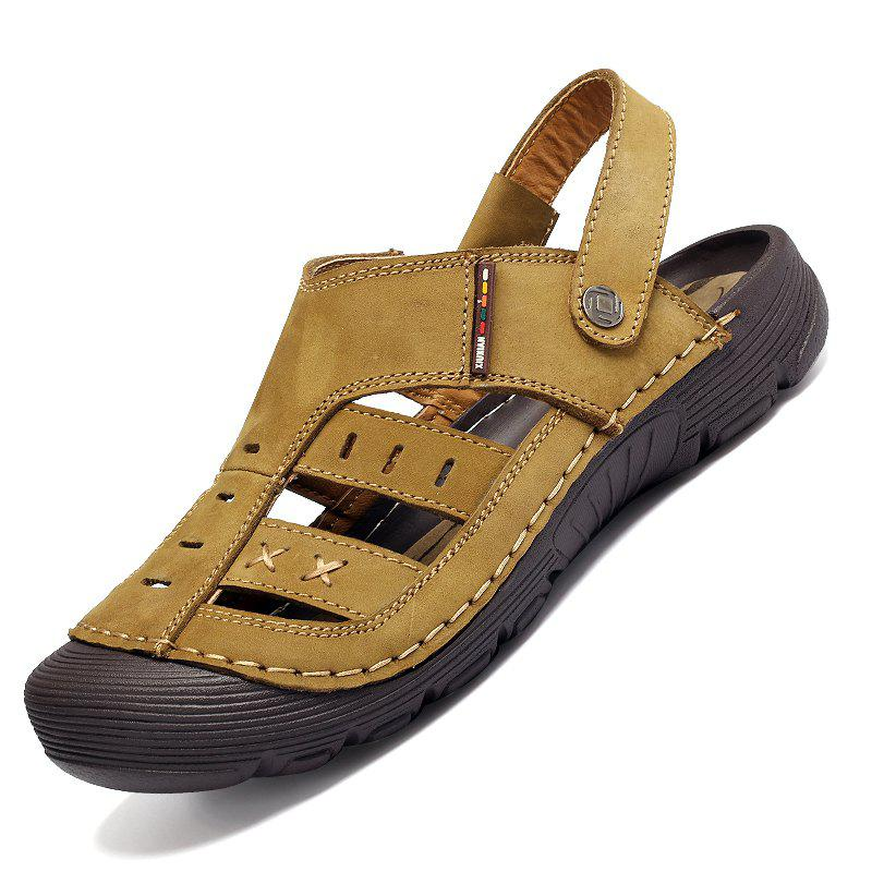 Men Casual Fashion Sandals Leather Shoes - BROWN SUGAR 41