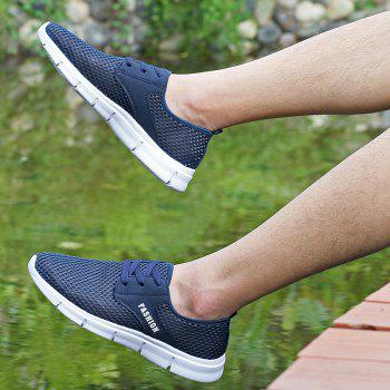 Lightweight Breathable Mesh Beach Shoes Comfort Flats Sneakers - NAVY BLUE 42