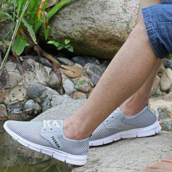Lightweight Breathable Mesh Beach Shoes Comfort Flats Sneakers - GRAY 39