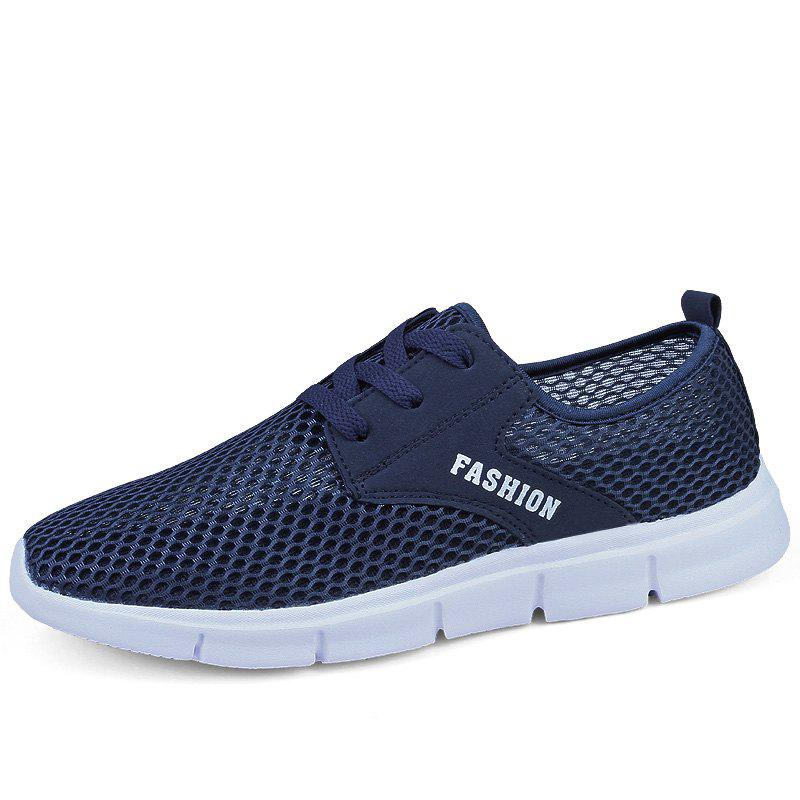 Lightweight Breathable Mesh Beach Shoes Comfort Flats Sneakers - NAVY BLUE 39