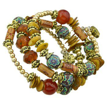 Antique Gold Color with Wood Colorful Beads Bracelet - RED