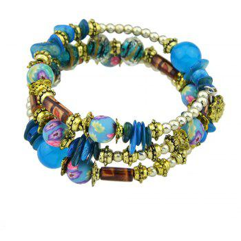 Antique Gold Color with Wood Colorful Beads Bracelet - BLUE