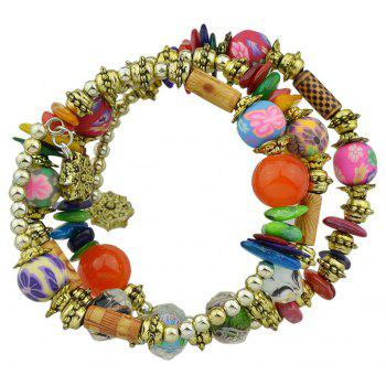 Antique Gold Color with Wood Colorful Beads Bracelet - THREE SAND CAMOUFLAGE