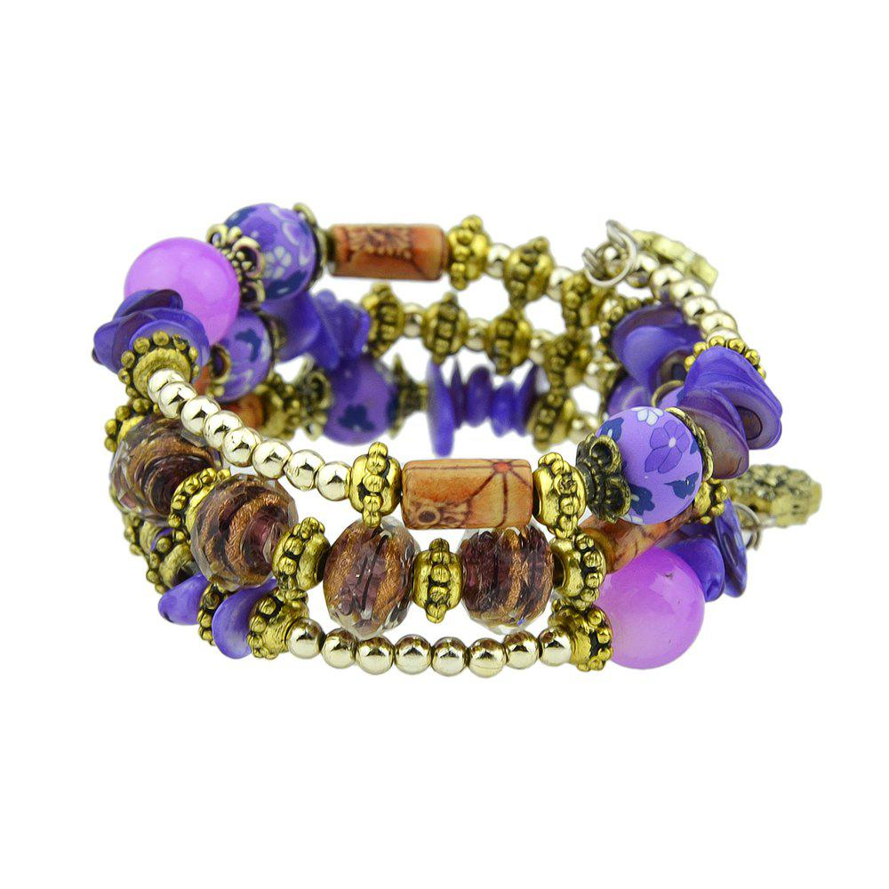 Antique Gold Color with Wood Colorful Beads Bracelet - PURPLE