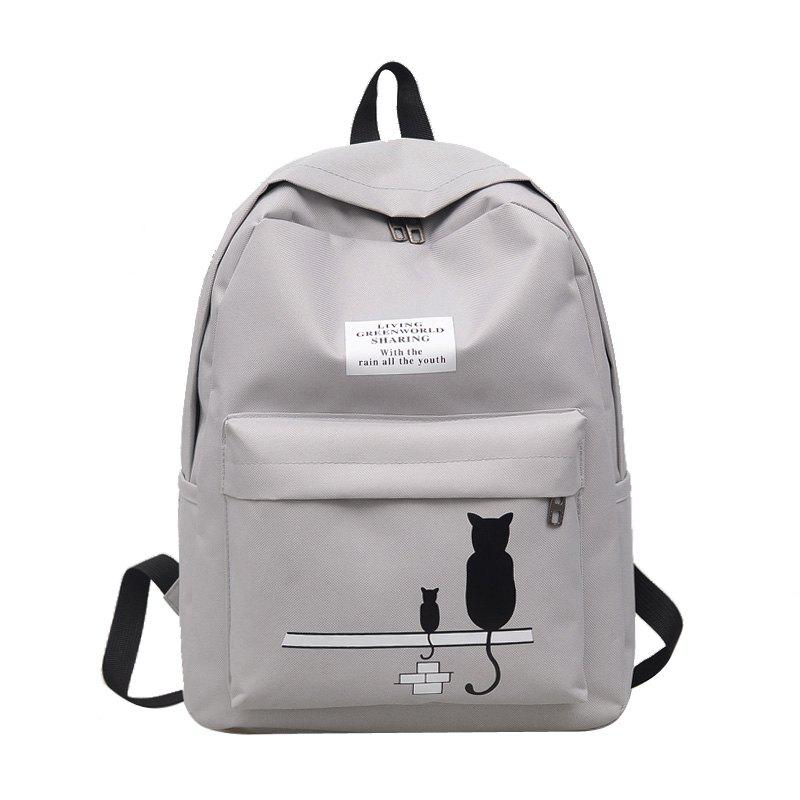 Cartoon Printed Campus Backpack - LIGHT GRAY
