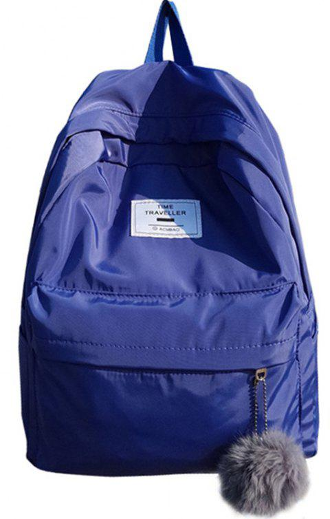 Simple Solid Color College Large-capacity Backpack - SAPPHIRE BLUE