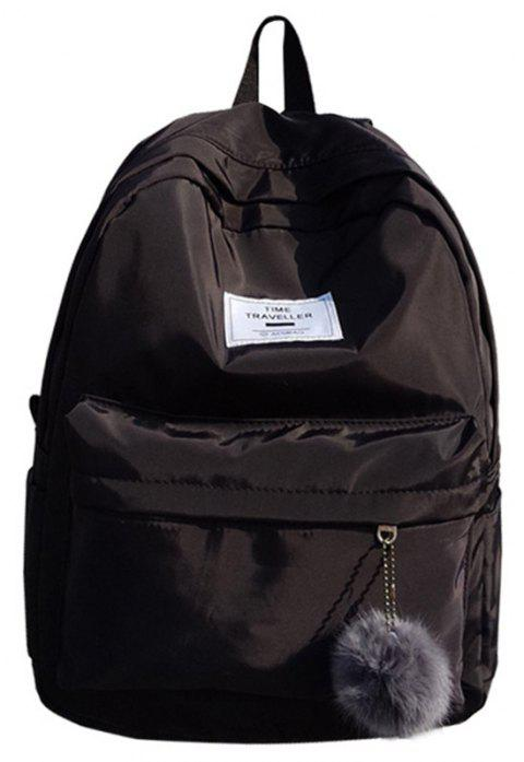Simple Solid Color College Large-capacity Backpack - BLACK