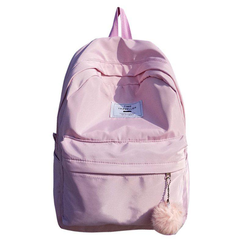 Simple Solid Color College Large-capacity Backpack - PIG PINK