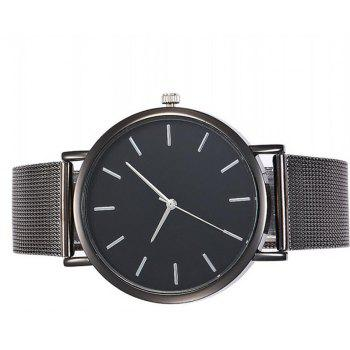 Casual Quartz Band Marble Strap Watch - BLACK