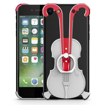 Cover Case for iPhone 7 Violin Pattern Aluminum Metal Hard Protective Ring - multicolor F