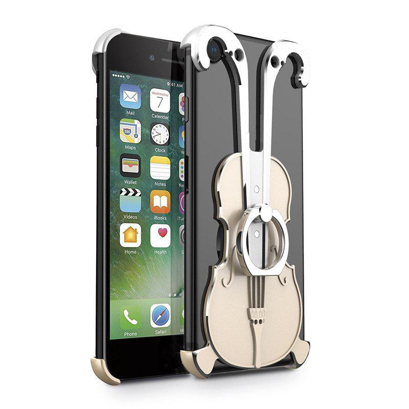 Cover Case for iPhone 7 Violin Pattern Aluminum Metal Hard Protective Ring - multicolor D