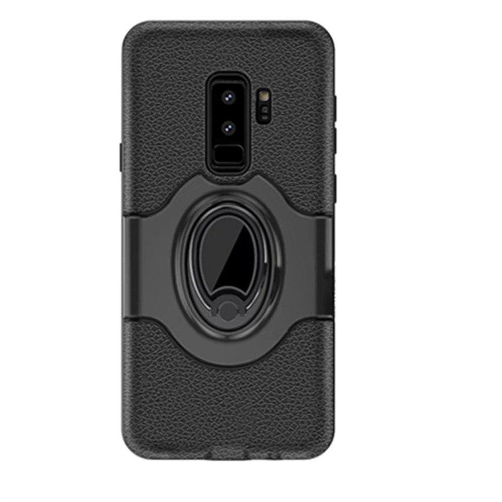 Cover Case for Samsung S9 Plus Stand Magnetic Suction Bracket Finger Ring Armor - BLACK