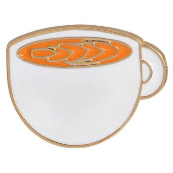 Personality Coffee Cups of Green Tea Cup Cat Cartoon Brooch - WHITE