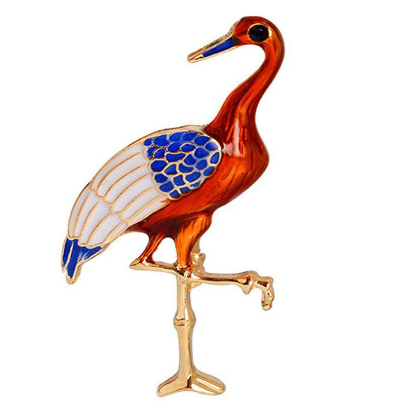Fashion Temperament Red-Crowned Cranes Flamingos Pop Brooch - VALENTINE RED