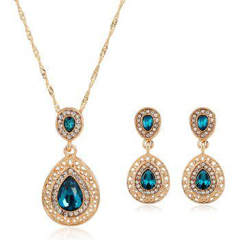 New Style Wedding Dinner Earrings Droplets Pendant Necklace Set of Ornaments - ROYAL BLUE