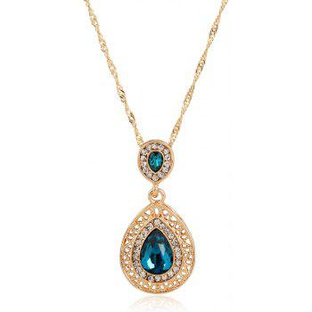 New Style Wedding Dinner Earrings Droplets Pendant Necklace Set of Ornaments - DARK TURQUOISE