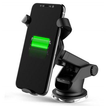 Qi Fast Wireless Car Charging with Car Air Vent Dashboard Holder Mount Charger - BLACK