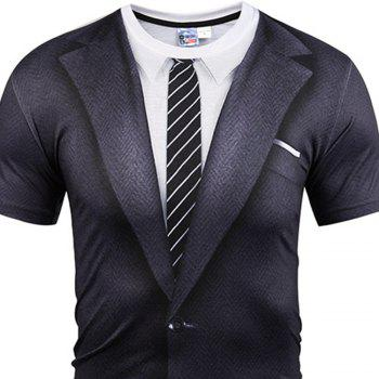 Men'S 3D Digital Printing T Suit Printing Short-Sleeved Thin Summer T-Shirt - BLACK XL