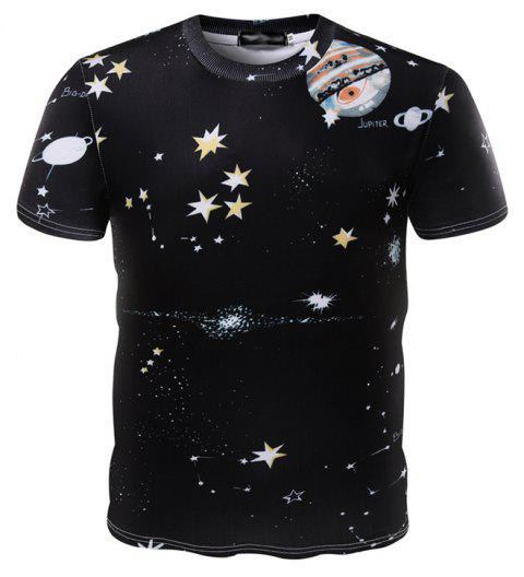 Summer Fashion Round Collar 3D Printed Man Short Sleeve T-Shirt - multicolor M