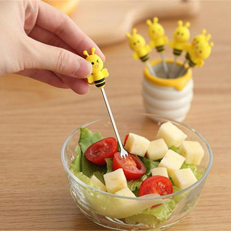 6PCS Bee Stainless Steel Fruit Fork with Honey Pot Holder honey bee wall lamp