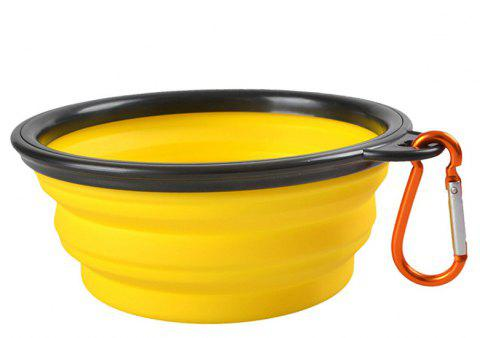 Portable Silicone Collapsible Pet Bowl - YELLOW