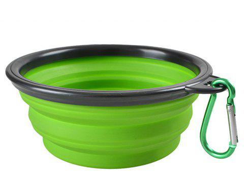 Portable Silicone Collapsible Pet Bowl - GREEN