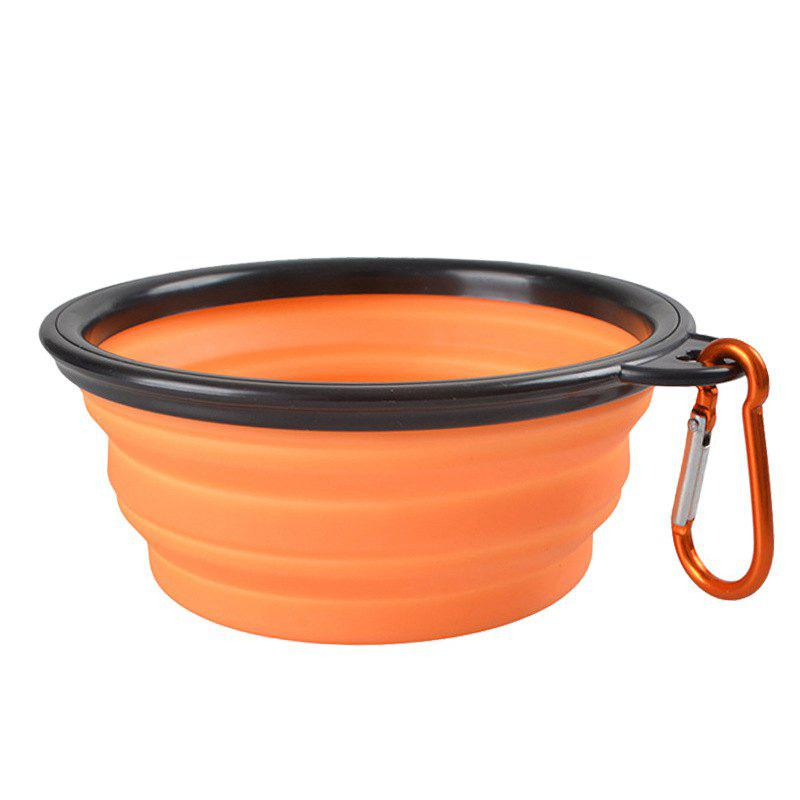 Portable Silicone Collapsible Pet Bowl - ORANGE