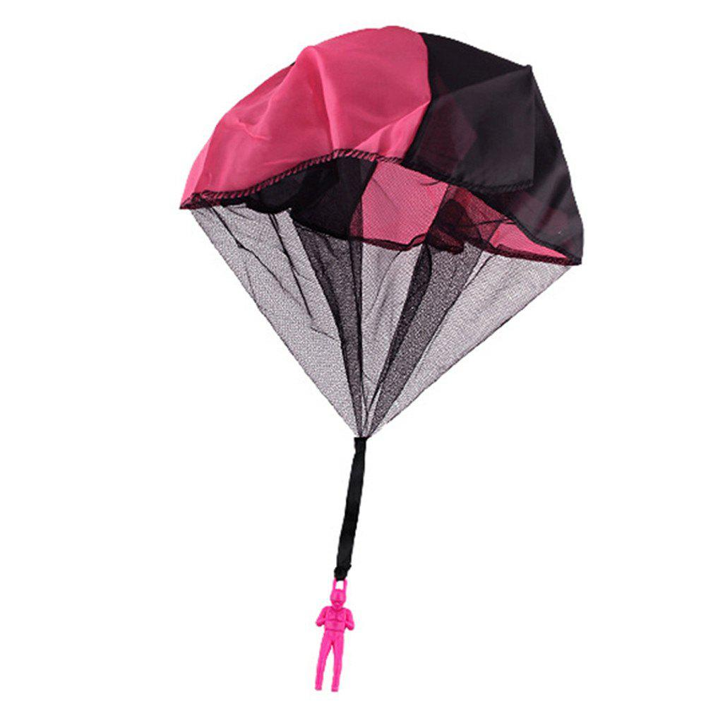 Soldier Men Base Jumpers Kids Hand Throwing Parachute Classic Operated Cloth Toy - DEEP PINK