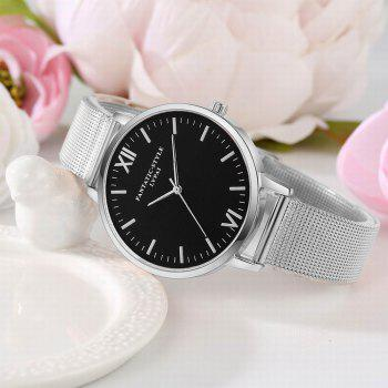 Lvpai P162 Women Black Dial Alloy Mesh Band Quartz Watches - SILVER