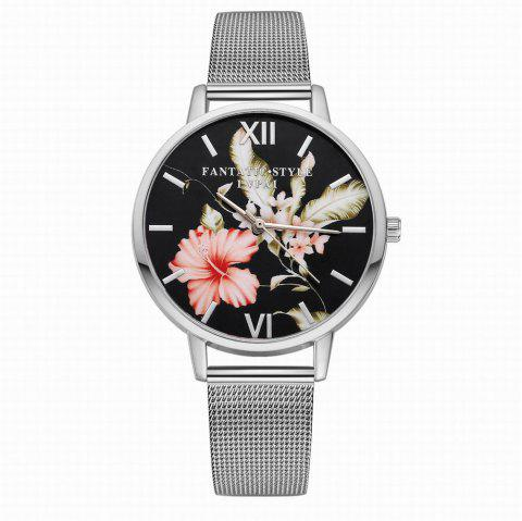 Lvpai P164 Women Flower and Feather Dial Alloy Mesh Band Quartz Watches - SILVER