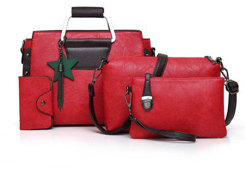 New Mother Bag Four-piece Handbag Simple Wild Shoulder Messenger - LOVE RED