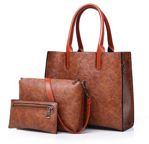 Fashion Portable Simple Messenger Bag Hit Color Wild Three-piece Package - BROWN