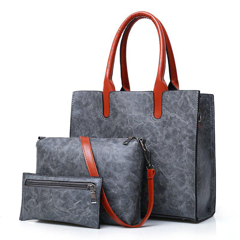 Fashion Portable Simple Messenger Bag Hit Color Wild Three-piece Package - GRAY
