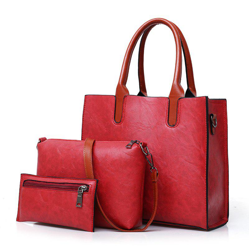 Fashion Portable Simple Messenger Bag Hit Color Wild Three-piece Package - RED