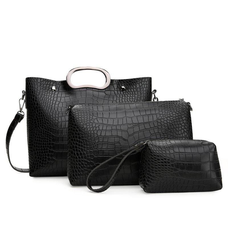 Fashion Laptop Shoulder Slung Buns Three-piece Package - BLACK