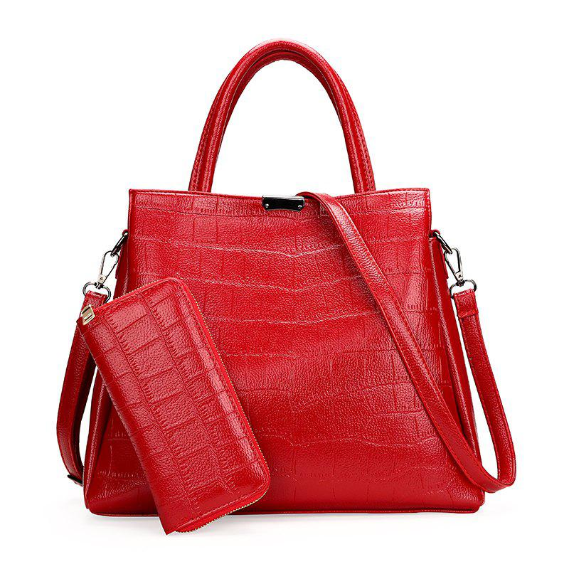 Fashionable Temperament Handbag Female Simple Wild Shoulder Messenger Bag - RED