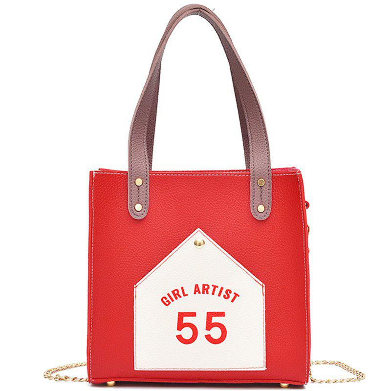 Female Fashion Letter Shoulder Messenger Bag - VALENTINE RED