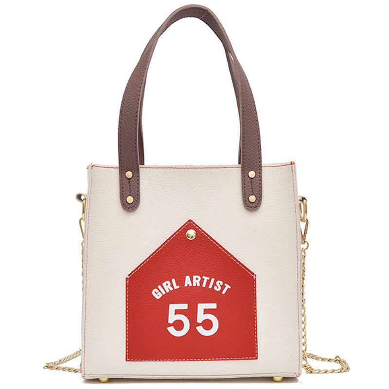 Female Fashion Letter Shoulder Messenger Bag - WHITE