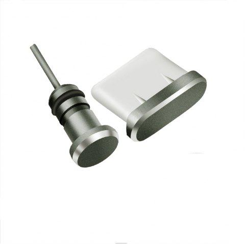 Metal 2 in 1 Sim Card Needle and 3.5MM Earphone Jack Dust Plug for Type - C - GRAY
