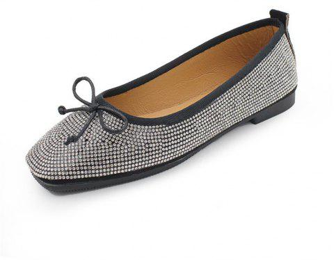 Heat Foiled Rhone Stone Bow Decor Flats - BLACK 36