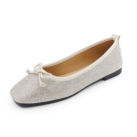 Heat Foiled Rhone Stone Bow Decor Flats - WHITE 38